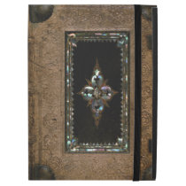 Mother Of Pearl Inlaid Old Leather Book Cover iPad Pro Case