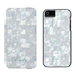 Mother Of Pearl Mosaic Wallet Case For iPhone SE/5/5s