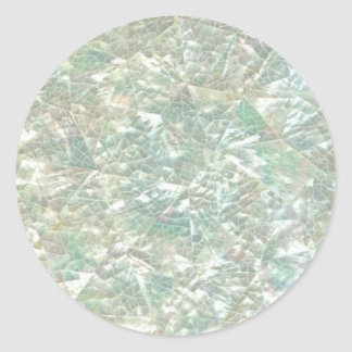 Mother of Pearl Opal Crackle Mirror Iridescent Classic Round Sticker