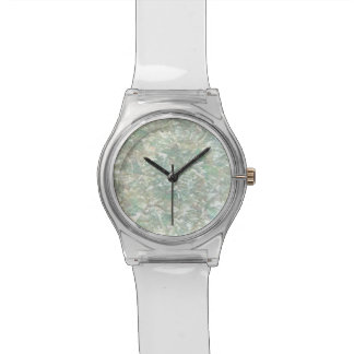 Mother of Pearl Opal Crackle Mirror Iridescent Wrist Watch