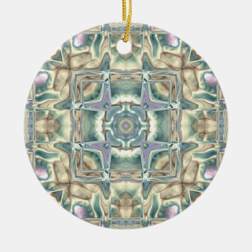 Mother of Pearl Double-Sided Ceramic Round Christmas Ornament