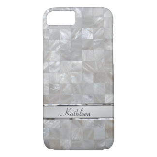 Mother Of Pearl Pink Square Tiled Name Plate iPhone 7 Case