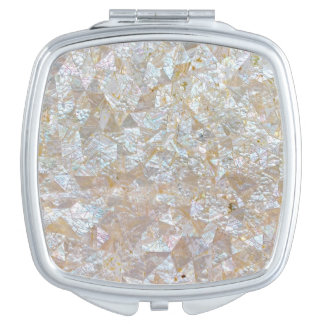 Mother Of Pearl Pink White Triangle Vanity Mirror
