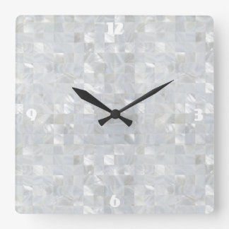 MOTHER OF PEARL PRINT White Square Wall Clock