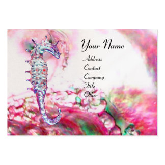 MOTHER OF PEARL & SEAHORSE MONOGRAM pink fuchsia Business Card Templates