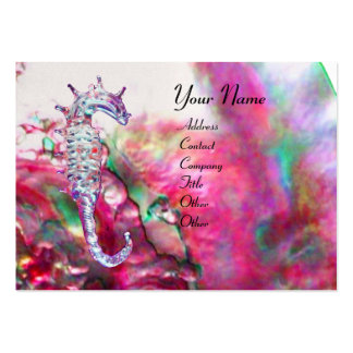 MOTHER OF PEARL & SEAHORSE MONOGRAM pink fuchsia Business Cards