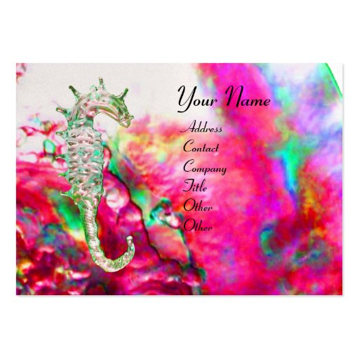 MOTHER OF PEARL & SEAHORSE MONOGRAM pink fuchsia Large Business Cards (Pack Of 100)