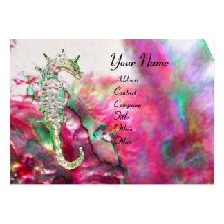 MOTHER OF PEARL & SEAHORSES MONOGRAM pink fuchsia Business Card Templates