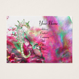 MOTHER OF PEARL & SEAHORSES MONOGRAM pink fuchsia Business Card