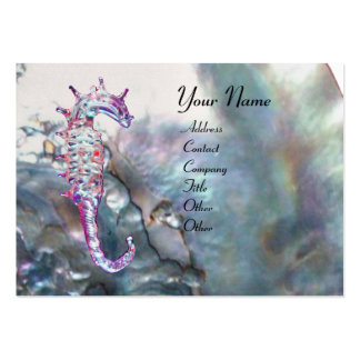 MOTHER OF PEARL & SEAHORSES MONOGRAM pink white Business Card Template