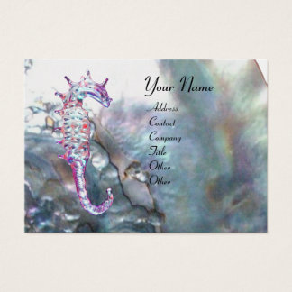 MOTHER OF PEARL & SEAHORSES MONOGRAM pink white Business Card