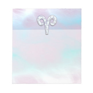 Mother of Pearl Style Aries Zodiac Symbol Notepad