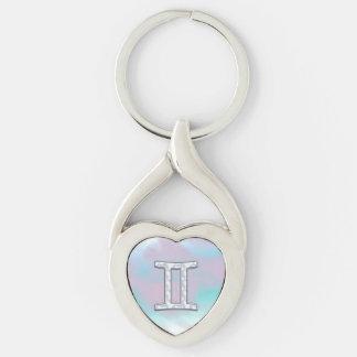 Mother of Pearl Style Gemini Zodiac Symbol Keychain