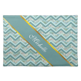 Mother of Pearl Teal ZigZag Cloth Placemat