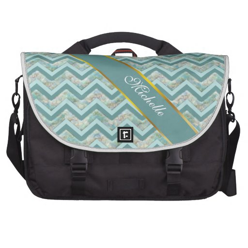 Mother of Pearl Teal ZigZag Laptop Bags