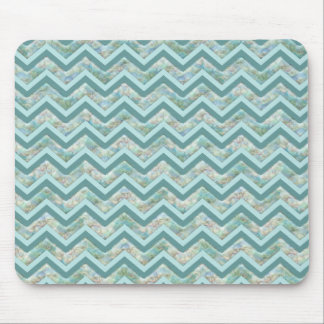 Mother of Pearl Teal ZigZag Mouse Pad