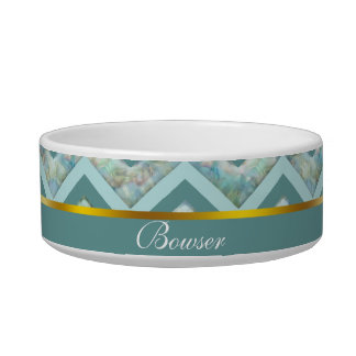 Mother of Pearl Teal ZigZag Pet Food Bowl
