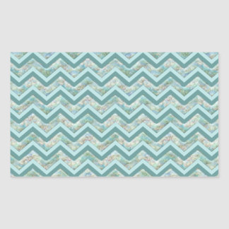 Mother of Pearl Teal ZigZag Rectangular Sticker