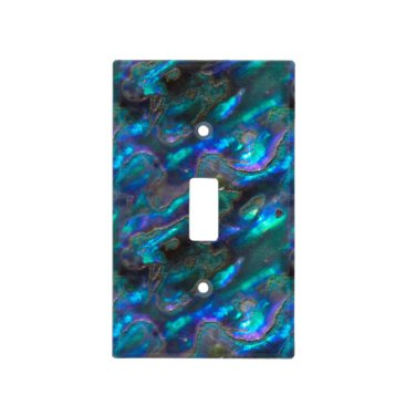 Beach Themed Mother Of Pearl Texture Blue Photo Pattern Light Switch Cover