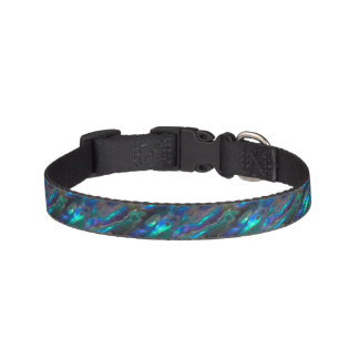 Mother Of Pearl Texture Blue Photo Pattern Pet Collar