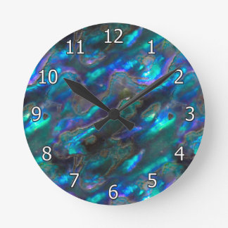 Mother Of Pearl Texture Blue Photo Pattern Round Clock