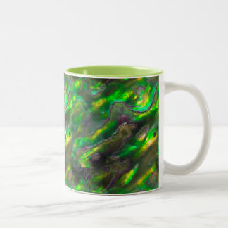 Mother Of Pearl Texture Green Photo Pattern Two-Tone Coffee Mug