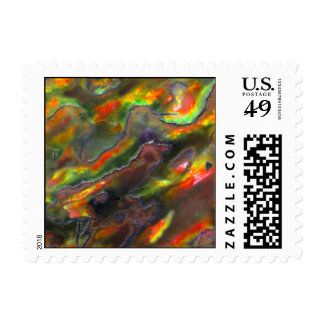 Mother Of Pearl Texture Orange Photo Pattern Postage Stamps