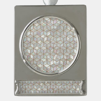 Mother Of Pearl Tiles Silver Plated Banner Ornament