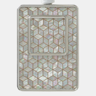 Mother Of Pearl Tiles Silver Plated Framed Ornament