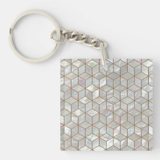 Mother Of Pearl Tiles Square Keychain