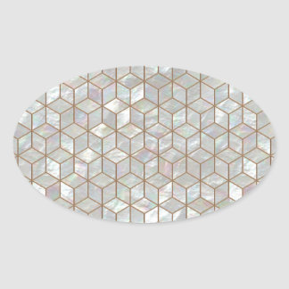 Mother Of Pearl Tiles Oval Sticker