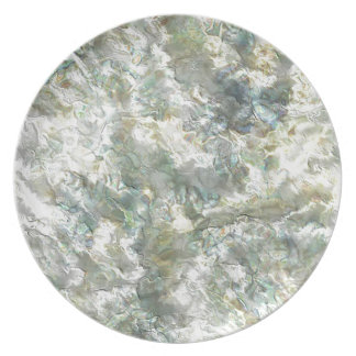 Mother Of Pearl White Abstract Swirl Melamine Plate