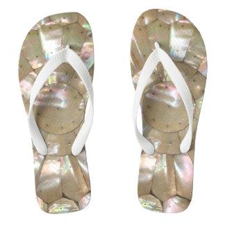 MOTHER OF PEARL Wide Strap FlipFlops Thongs Flip Flops