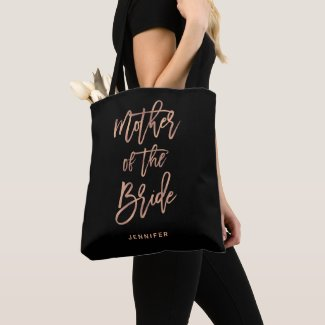 Mother of the Bride   Black and Rose Gold Wedding Tote Bag