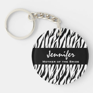 Mother of the Bride Black and White Zebra Gift Keychain