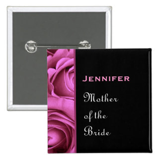 Mother of the Bride Black Pink Roses Custom Name Pinback Button