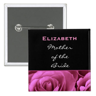 Mother of the Bride Black Pink Roses Custom Name Button