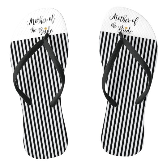 Mother of the bride black stripes gold flower flip flops zazzle mother of the bride black stripes gold flower flip flops mightylinksfo