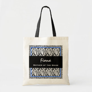 Mother of the Bride Black White BLUE Zebra V07 Canvas Bag
