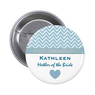 Mother of the Bride Blue Chevron Print Heart A04 Button