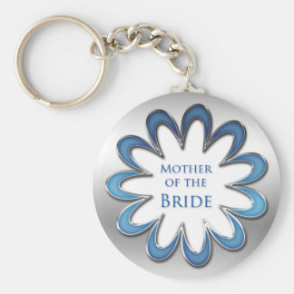 Mother of the Bride Blue Flower & Silver Outline Keychain