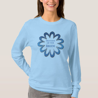 Mother of the Bride Blue Flower & Silver Outline T-Shirt