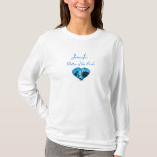 """""""Mother of the Bride"""" - Bright Blue Sunflower Hear T-Shirt"""