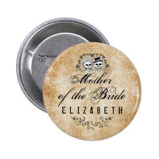 Mother of the Bride Brown Gothic Wedding Skeletons Button