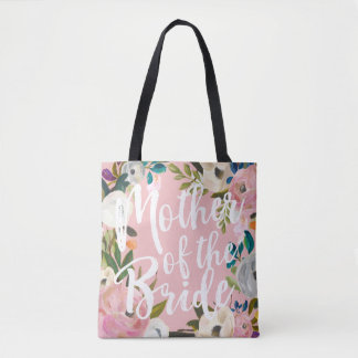 Mother of the Bride Brushed Floral Wedding Pink Tote Bag