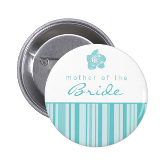 Mother of the Bride Button-Modern Stripes (Blue) 2 Inch Round Button