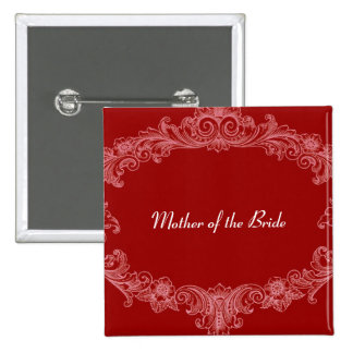 MOTHER OF THE BRIDE Button RED Vintage V03