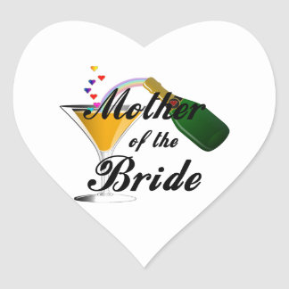 Mother Of The Bride Champagne Toast Heart Sticker