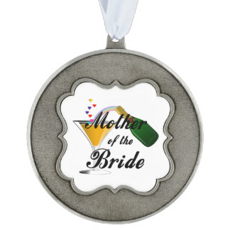Mother Of The Bride Champagne Toast Scalloped Pewter Ornament