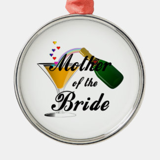 Mother Of The Bride Champagne Toast Round Metal Christmas Ornament